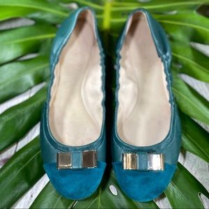 Coach Leather Green Flats